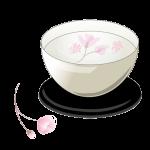 お湯の中で咲く一輪の桜